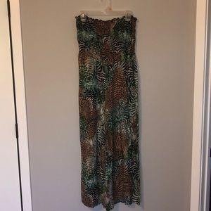 Pants - Jungle Print Strapless Jumpsuit